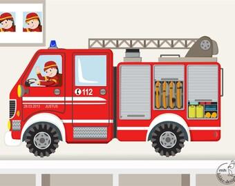 Wandtattoo zahlen farben formen lernen - Feuerwehr wandsticker ...