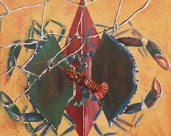 Fleur De Crab with Crawfish - Acrylic, Decapouge, 3d Canvas