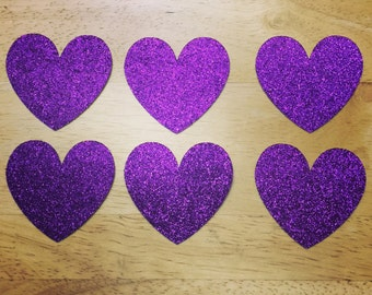 20 Medium Sized Hearts (Purple)