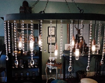 Oval Zinc and Crystal multi-light Chandelier