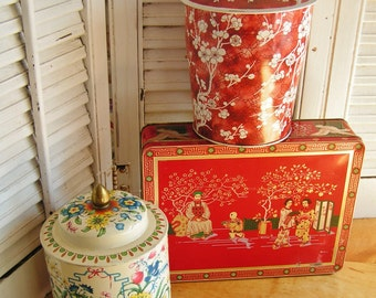 3 Vintage Retro Kitsch Asian Themed Storage Tins Canisters Flowers Floral