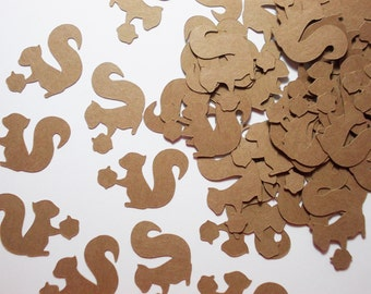 """Woodland Animal Party Decoration, Kraft Squirrel Confetti,  Birthday Party, Baby Shower, Party Decorations, Table Confetti 1.25"""", 100"""
