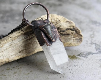 Crystal Necklace Electroformed Copper Large Stone Shark Tooth Pendant Crystal Pendant Raw Crystal Mineral Jewelry