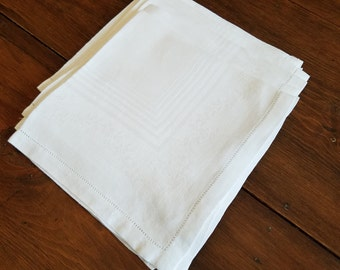 Vintage Set 4 Damask Napkins  #D12