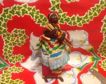 Vintage colorful African folk art cloth doll