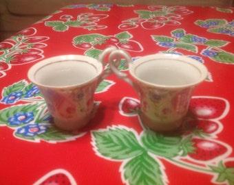 Vintage pair of hand painted porcelain demitasse tea cups- HHH, Japan