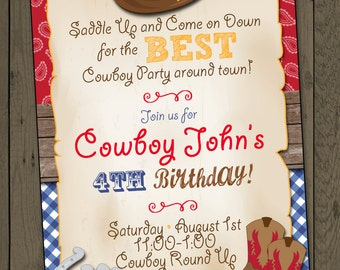 Cowboy Birthday Party Invitation Cowboy Invitation Digital Invitation