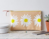 Screen Printed Yellow Leather Clutch Purse Bag Handbag  Daisy Floral Flower Botanical Gift