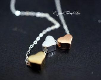 Tiny Three Hearts Necklace - Italy Sterling Silver Necklace - Gold Heart Necklace - Rose Gold Heart - Heart Choker Tiny Gold Filled Necklace