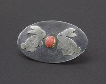 Sterling Silver Bunny Brooch, Spring Brooch, Rabbit Pin, Peruvian Pink Opal Brooch, Art Metal Brooch, Easter Jewelry, Bunnies And Egg