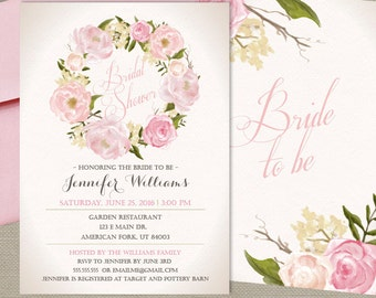 Bridal Shower Invitation, Romantic Floral Invitation, Vintage Pink Floral, Garden Party, Printed Or Printable File - Free Shipping IBR0001