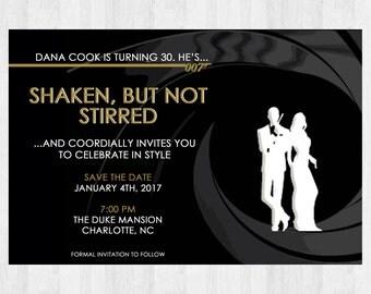 James bond party etsy 007 james bond birthday invitation 007 birthday party invitations 007 secret agent gunbarrel invites stopboris Choice Image