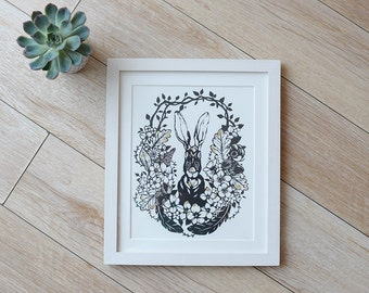 Hare hiding in shrubbery hand pulled screenprint with gold leaf