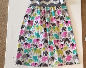Girls sundress tie knot dress spring dress girla elephant tie knot dress  sizes 3mo-8yrs
