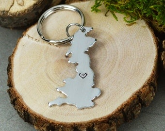 United Kingdom Keychain or Necklace - Best Friend Gift - Couples Gift - Long Distance Love