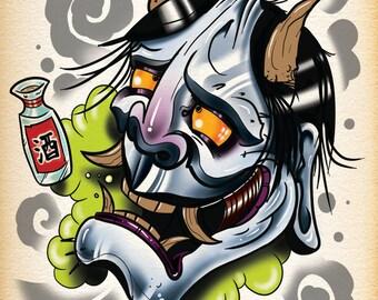 Drunk Hannya Demon Tattoo Print by thebrokenpuppet