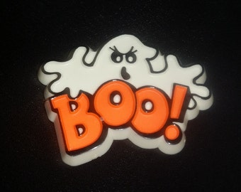 Vintage BOO! GHOST Brooch HALLMARK Halloween Jewelry Pin, 80s Plastic Ghost Broach Scary Ghost Brooch Orange & White Ghoul 1980s Gift Unisex