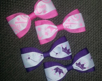 Princess Crowns Pink Purple Handmade Pigtail Bow Set