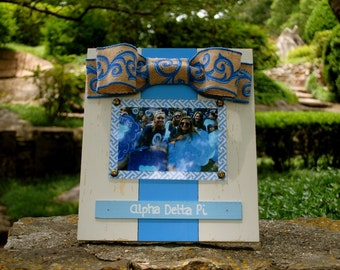Alpha Delta Pi Large Bow Table Top Frame with Burlap Ribbon