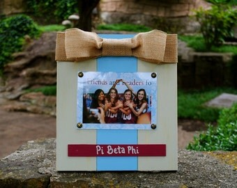 Pi Beta Phi Large Bow Table Top Frame with Burlap Ribbon
