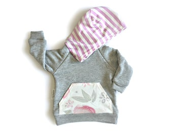 Organic Watercolor Floral Hoodie Newborn Toddler Baby Girl