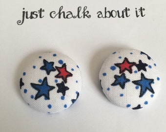 Patriotic Star Button Earrings