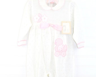 Gorgeous vintage knit romper, White with pink satin bow and duck. Iliusion sz 18 mo, NEW with tag!