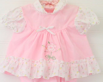 Vintage baby dress pink floral, Cradle Togs dress sz 12 Mo WITH bloomers