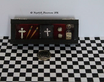 Dollhouse Miniature Gothic Vampire Hunter Slayer Emergency Box in 1:12 scale
