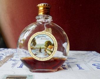 vintage Wembdon Lavender. Perfume bottle with foil crown hangtag, blue enamelled cap, circa 1930s - 1940s.