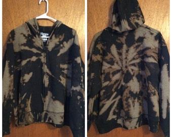 20% OFF! Small Hanes reverse tie dyed zip up hoodie. Charcoal gray sweatshirt.