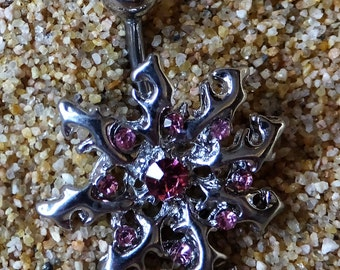 Vintage Pink Crystal Surgical Steel Bursting Sun Body Piercing