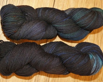 "Superwash Hand Dyed Sock Yarn:  ""Feed the Ravens"""