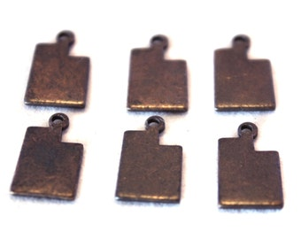 6x Antique Brass / Brown Patina Blank Utah State Charms - M073/AB-UT