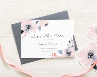 Sweet Posey Wedding Save The Date, Grey & Pink Save The Date, Personalised Wedding Stationery, Spring Wedding, Summer Wedding