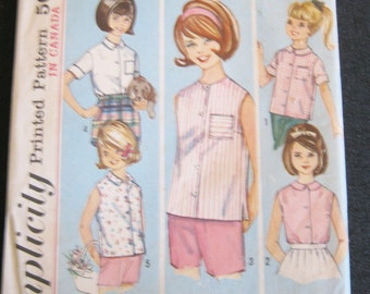 "Simplicity Pattern #5479, Girls Blouse Pattern, Size 12, Copyright 1964, ""How To Sew"" Pattern, 5 Views,"