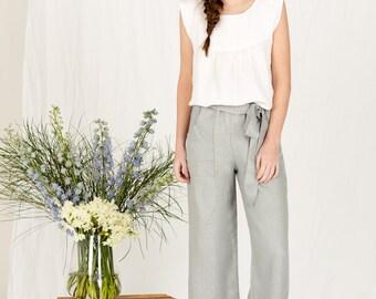 SALE!! Womens wide leg linen summer pants