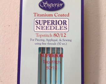 Superior Titanium-coated Topstitch Needles 80/12