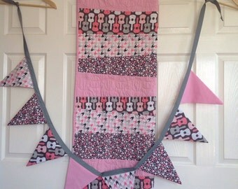 Crib / Cot Set - Modern quilt in grey, white and pink, includes bunting. Handmade, home decor. Home and Living