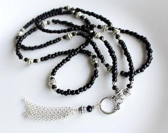 Long Black Beaded Tassel Necklace, Black Tassel Necklace, Long Tassel Necklace, Long Gypsy Necklace, 1920s Jewelry, Silver Tassel Necklace