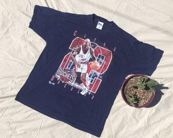 Vintage  1994 Clyde Drexler Houston Rockets Printed T-Shirt