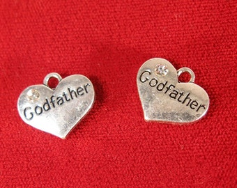 "5pc ""Godfather"" charms in antique silver style (BC1118)"