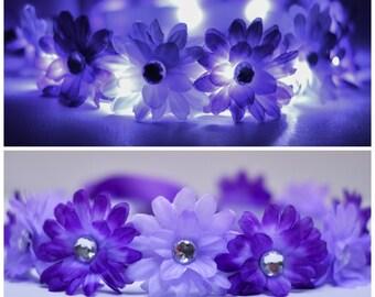 Purple Light-up LED Flower Headband