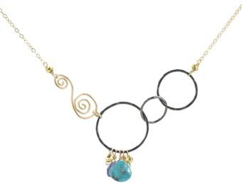 Necklace, Gunmetal Finish Linked Hoops, Gold Swirl, Briolette Drops
