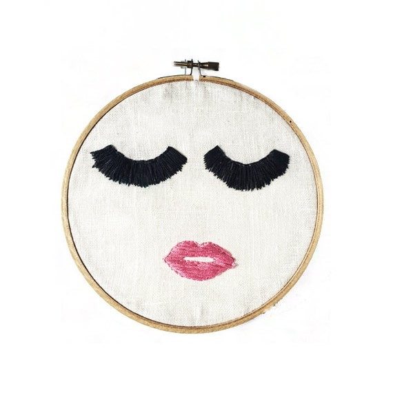 Pink Lips Hoop Art - Hand Stitched Modern Embroidery Art - 6 Inch Hoop