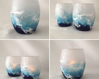 Stormy Seas Tea Light Candle Holder. Strawsilk Glass.