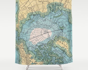 Arctic Map Shower Curtain - Arctic circle - travel Home Decor - Bathroom - maps, unique, blue, yellow, North Pole, travel decor, unique