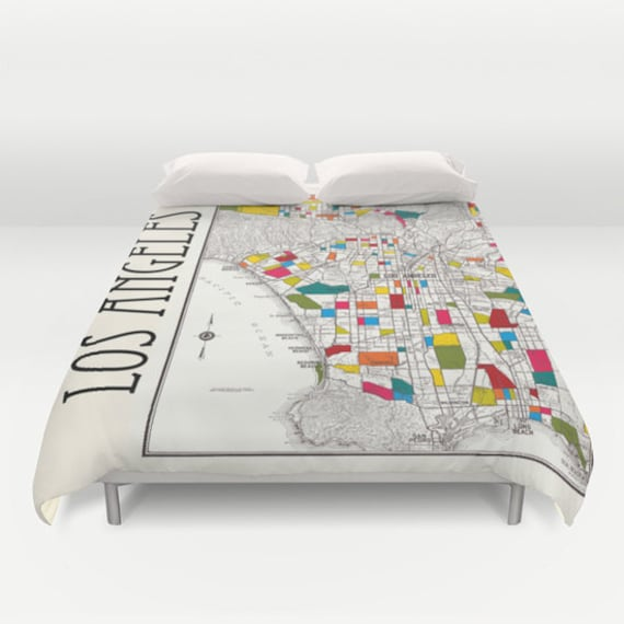 Los Angeles Street Map Duvet Cover - bed - bedroom, travel decor, cozy, colorful, winter, warm, wanderlust