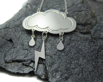 Silver cloud and lightning Necklace, winter necklace,  Nature jewelry, Cloud jewelry, shiran tal,  Lightning bolt, Gift for her, under 40