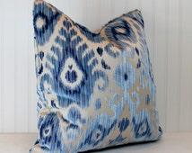 Both Sides - One Scalamandre Tashkent Pacific Velvet Pillow Cover with Knife Edge